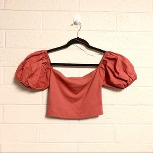 NWOT Zara Puff Sleeve Mauve Crop Top
